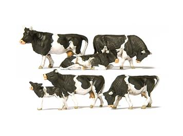 Preiser 10145 Kühe, schwarz gefleckt HO