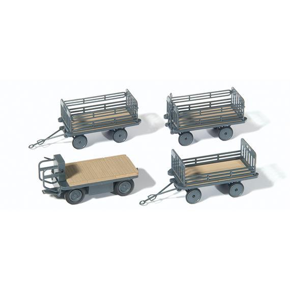 Preiser 17126 Elektrokarre für stehendes Fahren mit 3 Anhängern HO