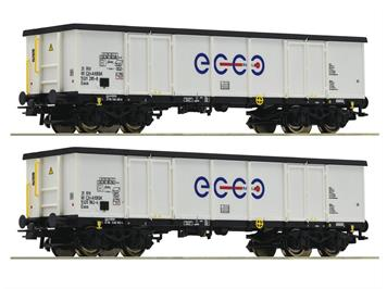 Roco 76731 2-tlg. Set: Offene Güterwagen, Ecco Rail