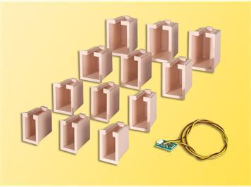 Viessmann 6005 12 Lichtboxen + 1 Hausbeleuchtungsplatine