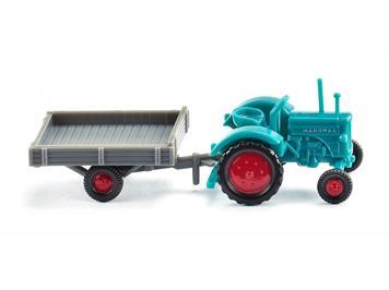 Wiking 095304 Hanomag R 16 mit Anhänger wasserblau/grau N