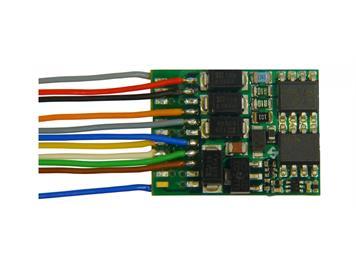 ZIMO MX634 Decoder 1,2 A, 6 Fu-Ausgänge, Energiesp.Anschluss, 11 Anschlussdrähte