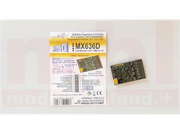 ZIMO MX636D Decoder 21mtc mit Energiesp.-Ansch. (16V) - 26 x 15,5 x 3,5 mm - 1,8 a