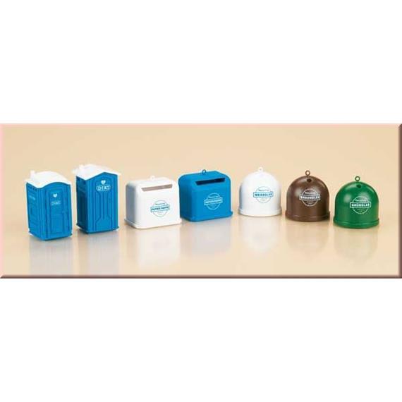 Auhagen 2 Mobiltoiletten, 5 Recyclingcontainer