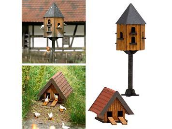 Busch Taubenhaus und Entenhaus (echt Holz) HO