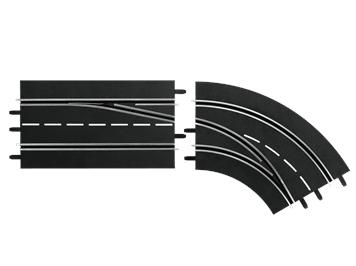 Carrera 20030365 D132, D124 Spurwechselkurve rechts, außen nach innen