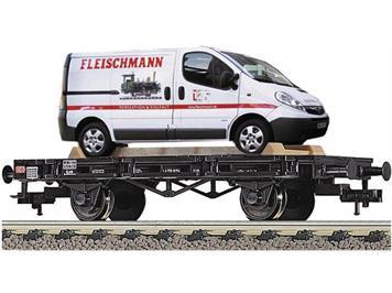 Fleischmann 521801 Flachwagen Xf 19 DB AG mit Fleischmann - Firmentransporter lim. Auflage