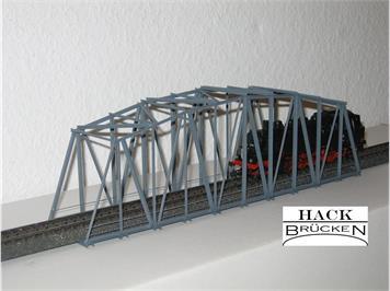 HACK 13150 HO Bogenbrücke 30 cm grau, B30 Fertigmodell aus Weissblech