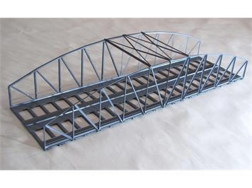 HACK 13330 HO Bogenbrücke 46 cm 2-gleisig grau, B46-2 Fertigmodell aus Weissblech