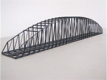 HACK 23170 N Bogenbrücke 50 cm 2gleisig grau BN50-A-2, Fertigmodell aus Weissblech