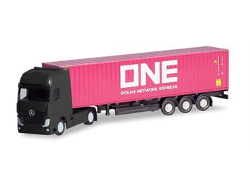 """Herpa 066792 Mercedes-Benz Actros Gigaspace Container-Sattelzug """"ONE"""" N"""