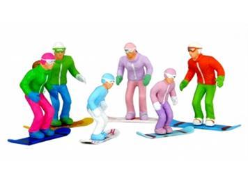 Jägerndorfer 54300 6 sitzende Winterfiguren mit Snowboards 1:32