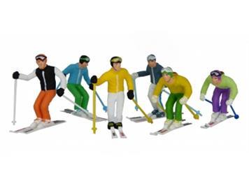 Jägerndorfer 54400 6 stehende Winterfiguren mit Skistöcken 1:32