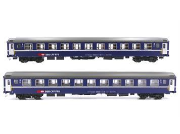 L.S. Models 47325 SBB Personenwagen Bcm blau 11 Abteile Tagesposition 2er Set HO