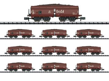 Minitrix 15449 Display mit 10 Selbstentladewagen Erz Id