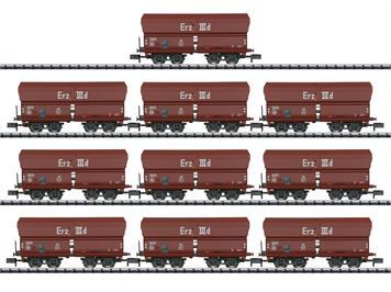 Minitrix 15458 Display mit 10 Selbstentladewagen Erz IIId der DB, N (1:160)