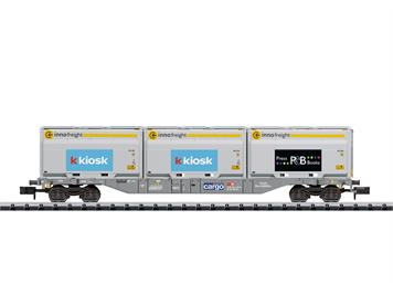 Minitrix 18405 SBB Containertragwagen Bauart Sgnss, mit Container der Fa. Innofreight, N