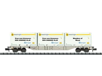 Minitrix 18408 vierachsiger Container-Tragwagen Bauart Sgnss der AAE vermietet an Rush, N