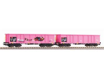 Piko 58393 SBB 2 Hochbordwagen Eaos SBB pink,1x.Graffiti, EpV, H0