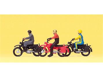 Preiser 10081 Motorradfahrer auf Hercules, H0 1:87