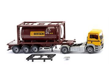 "Wiking 053604 Tankcontainersattelzug 20' MAN TGS Euro 6 ""Bertschi"" HO"