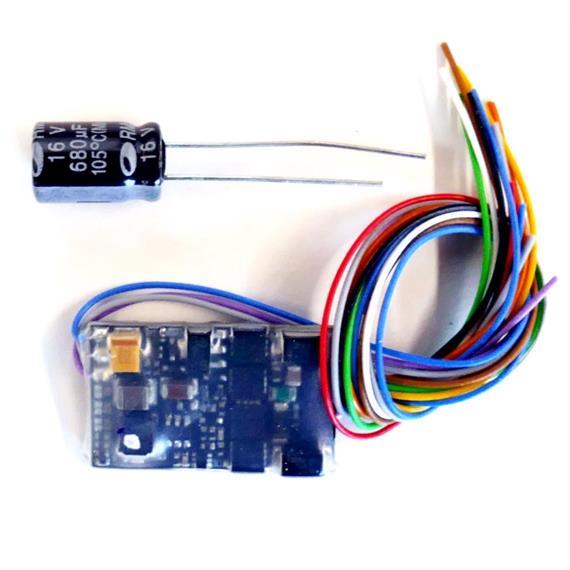 ZIMO MX635V HO-Decoder mit Energiesp.-Ansch.(16V) - 25 x 15 x 3,5 mm - 1,8 A an Litzen
